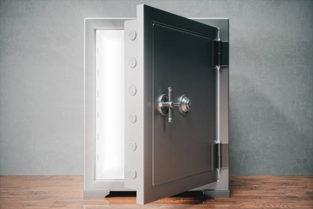 Open Safe With Light Open vault with light. safe security equipment stock pictures, royalty-free photos & images