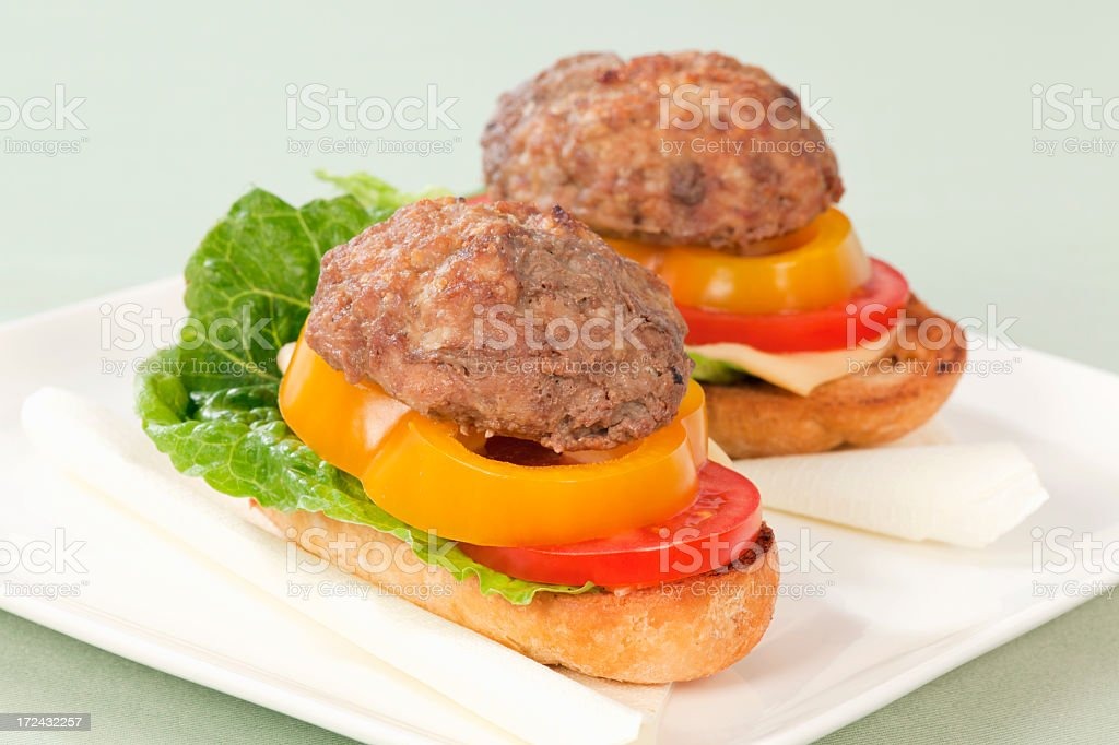 Open sandwich with fried burger royalty-free stock photo
