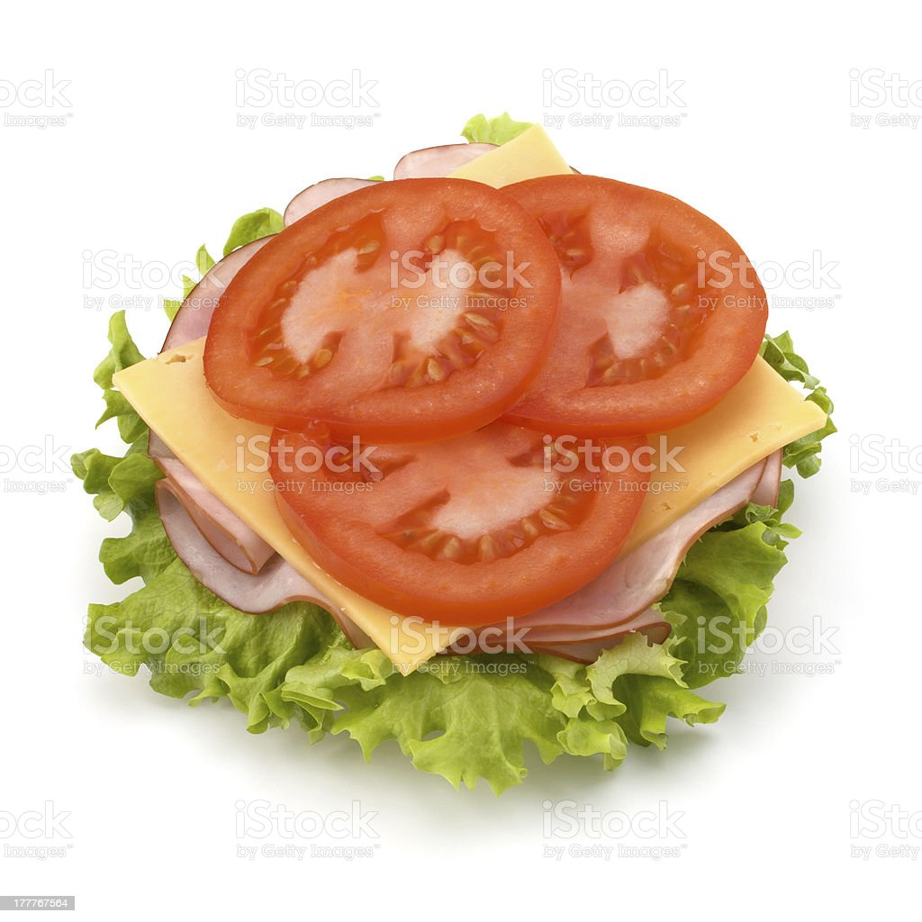 open sandwich with lettuce, tomato, smoked ham and cheese royalty-free stock photo