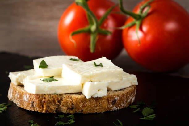 Open sandwich with telemea cheese stock photo