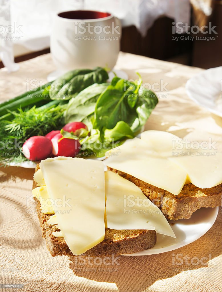 Open sandwiches with dairy butter and cheese on breakfast royalty-free stock photo