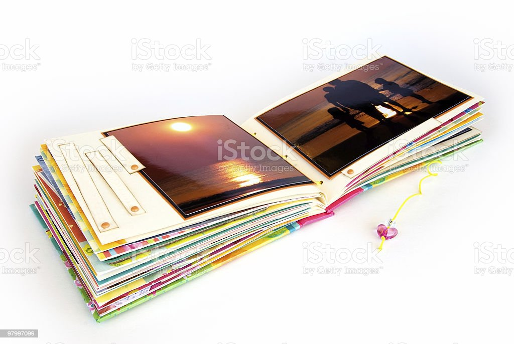 Open scrapbook album on white royalty free stockfoto