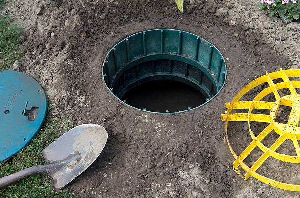Open Septic Tank Lid with Cover stock photo
