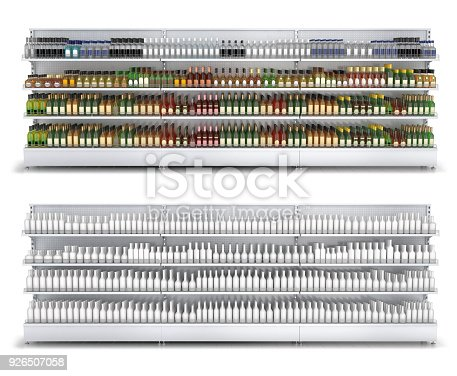istock Open shelf with colored bottles in a self-service store. 926507058
