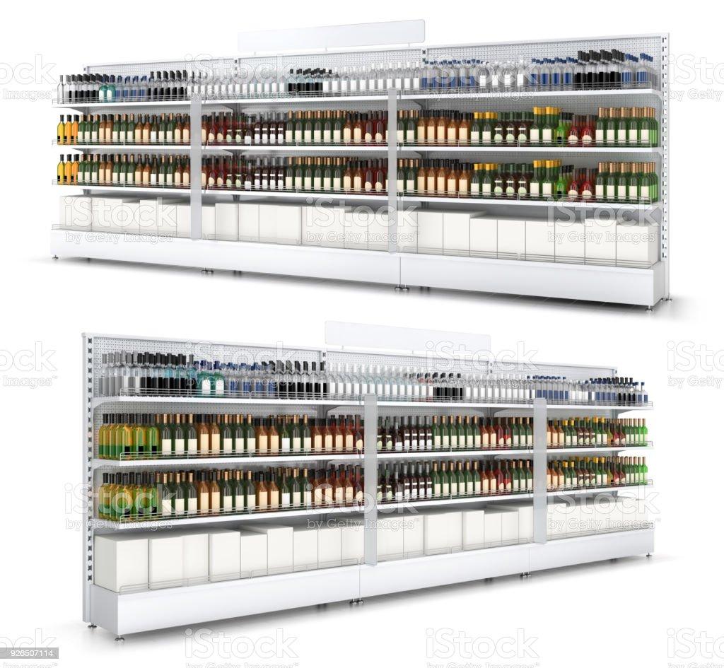 Open kast met gekleurde flessen in een self service-winkel. foto