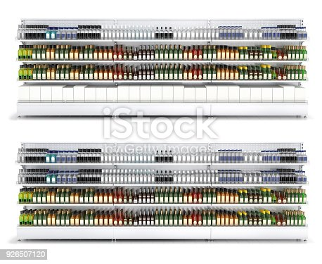 istock Open shelf with colored bottles in a self-service store. 926507120