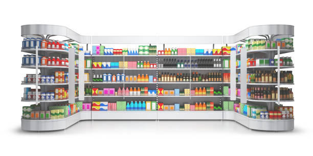 Open shelf with colored goods in a self-service store. stock photo