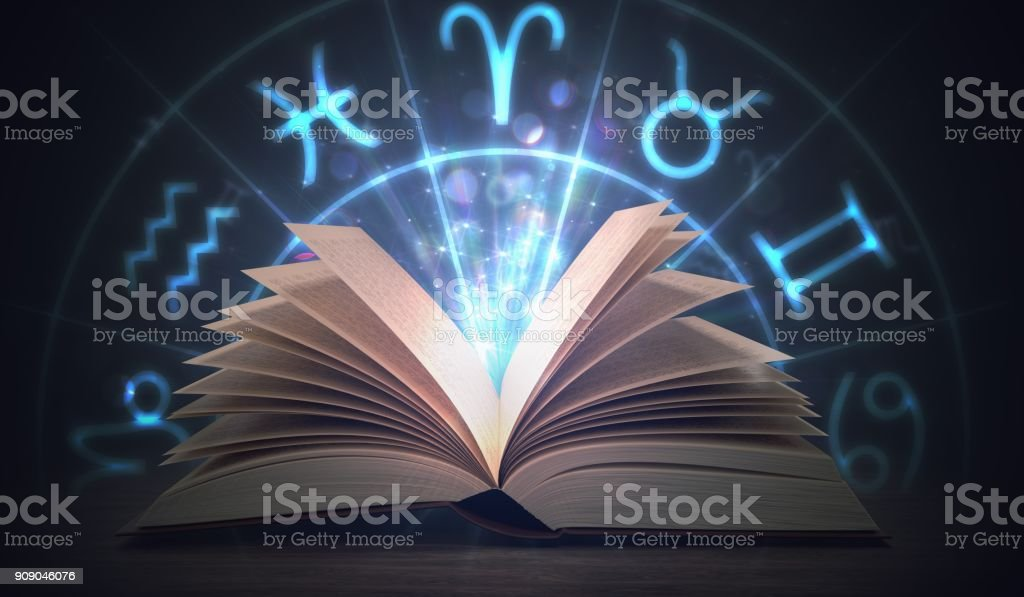 Open shining astrology book with zodiac signs above. 3D rendered illustration. stock photo