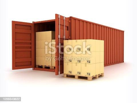Open Shipping Container. Digitally Generated Image isolated on white background