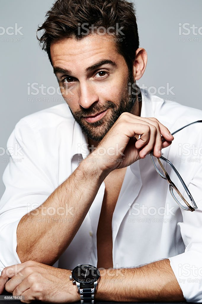 Open shirt guy stock photo
