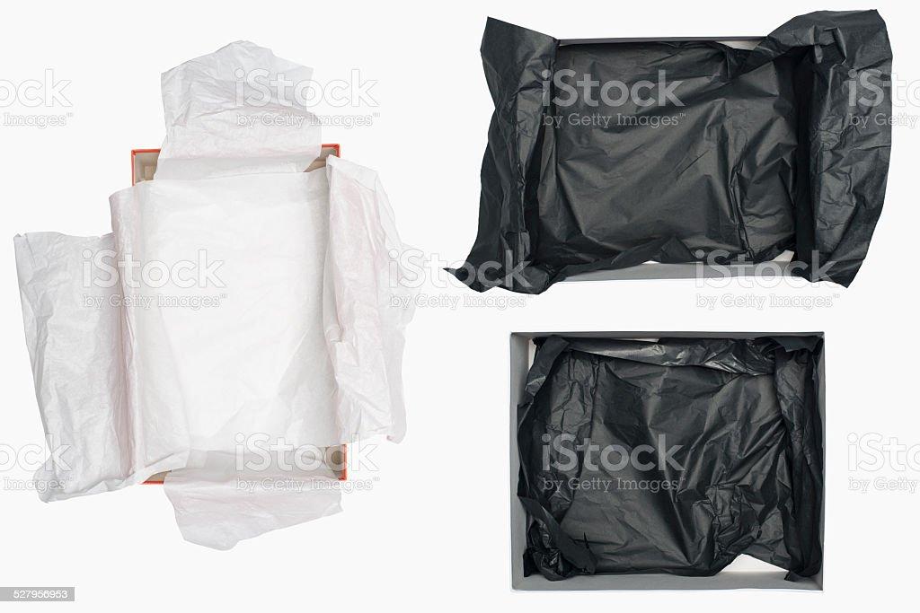 Open shoe box isolated on white stock photo