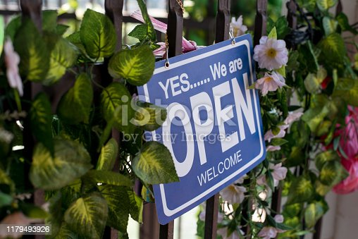 1025152800istockphoto Open sign hang on cafe door at entrance 1179493926