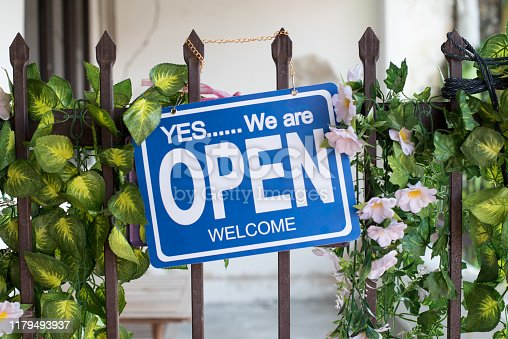 1025152800istockphoto Open sign hang on cafe door at entrance 1179493937