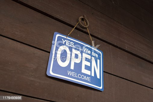 1025152800istockphoto Open sign hang on door at entrance 1179493935