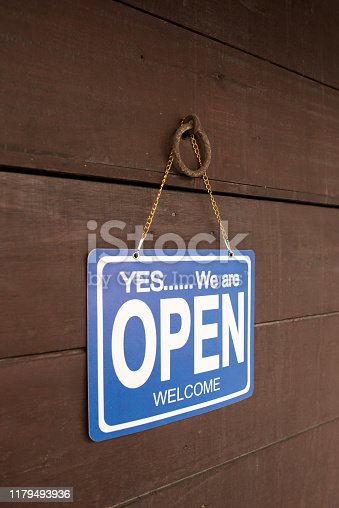 1025152800istockphoto Open sign hang on door at entrance 1179493936