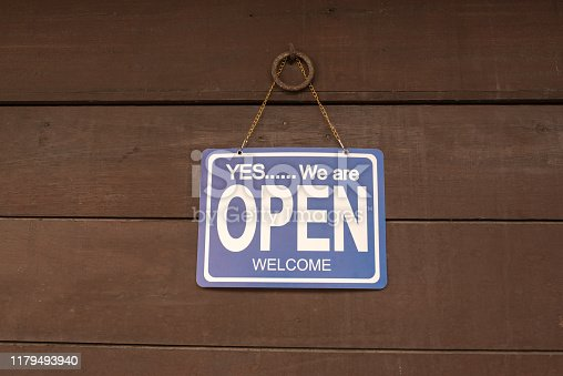 1025152800istockphoto Open sign hang on door at entrance 1179493940