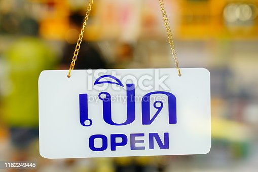 1025152800istockphoto Open sign hanging at door for entrance 1182249445