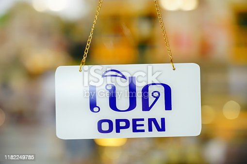 1025152800istockphoto Open sign hanging at door for entrance 1182249785