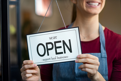 Open Sign In A Small Business Shop Stock Photo - Download Image Now