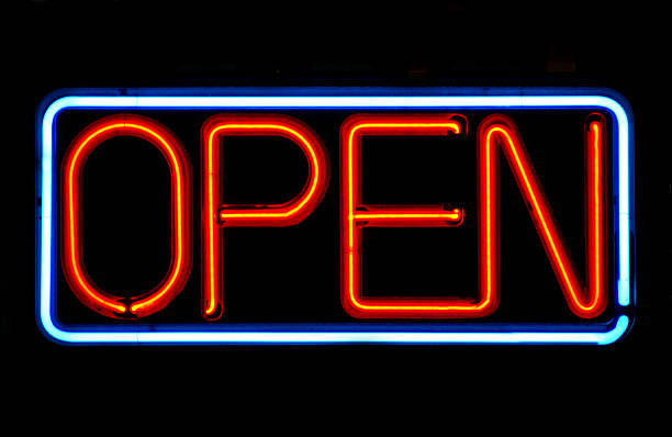 open sign in neon lights against a black background - open sign stock pictures, royalty-free photos & images