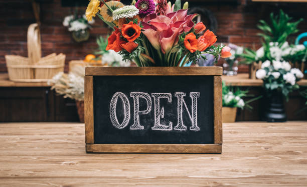 open sign of flower shop - open sign stock pictures, royalty-free photos & images