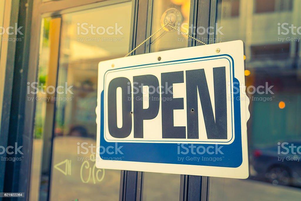Open sign on a door stock photo