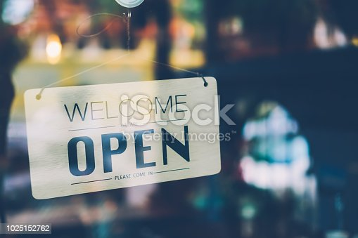 1025152800istockphoto Open sign on cafe hang on door at entrance. 1025152762