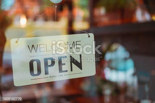 1025152800istockphoto Open sign on cafe hang on door at entrance. 1025152770