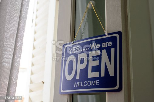 1025152800istockphoto Open sign on cafe hang on door at entrance 1173731537