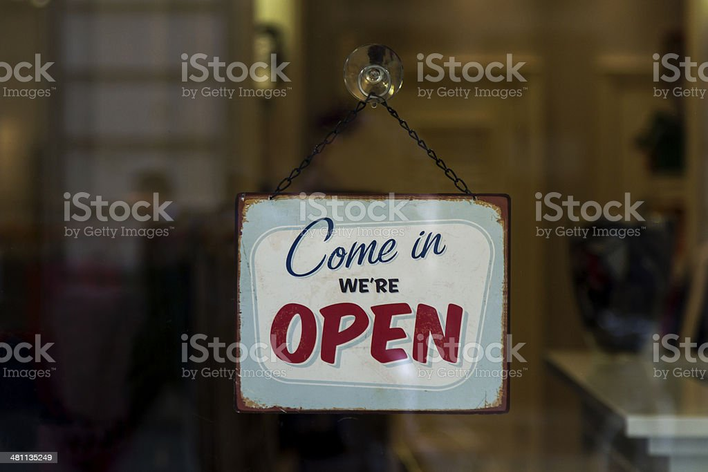 Open sign on shop window stock photo