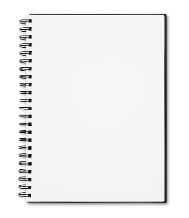 Open Spiral Blank Sketchbook isolated on white (excluding the shadow)