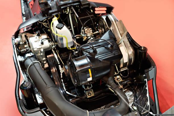 Open snowmobile motor stock photo