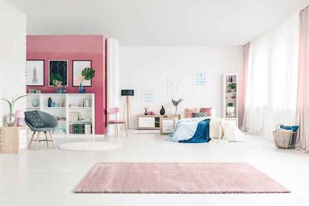 Open space bedroom interior stock photo