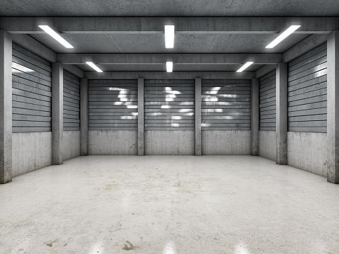 Open space empty garage