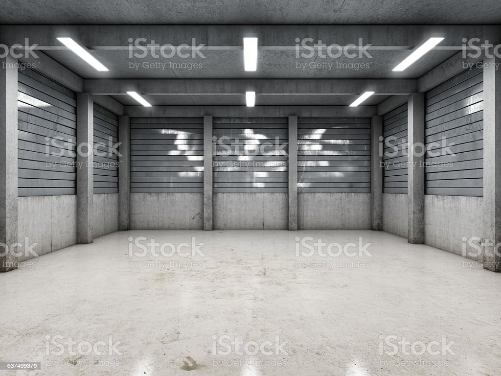 Open space empty garage stock photo