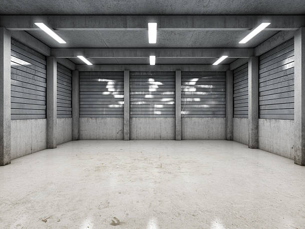 open space empty garage - garagiste photos et images de collection