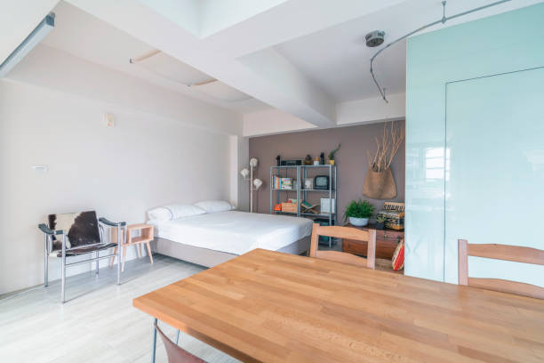 Open space interior with a bedroom corner stock photo