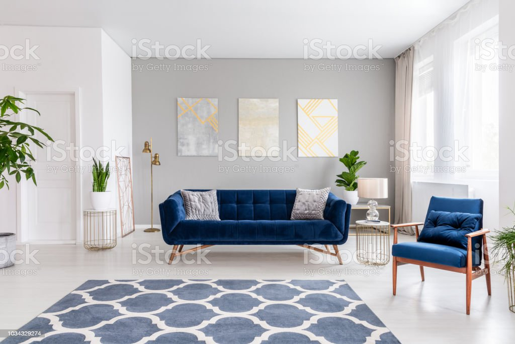 Open Space Living Room Interior With A Navy Blue Sofa And An ...