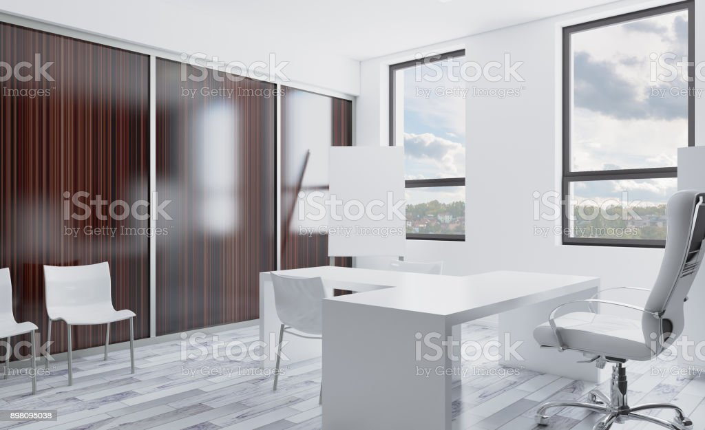 Open Space Office Interior With Like Conference Room Mockup 3d ...