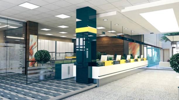 open space office prospettiva rendering 3d realistico - banca foto e immagini stock