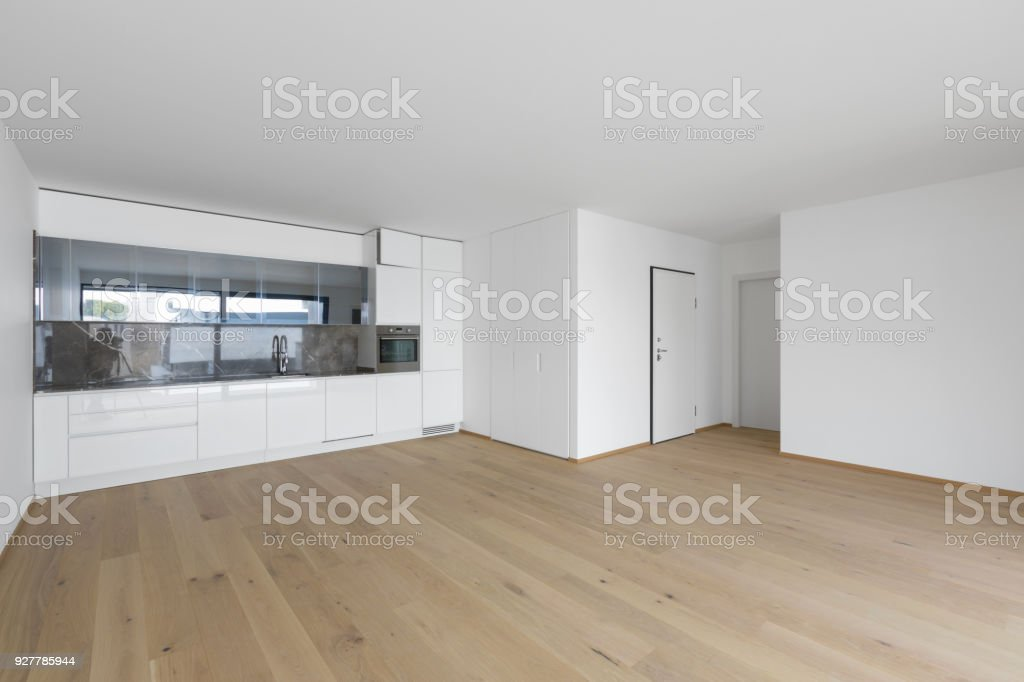 Open space with living and kitchen stock photo