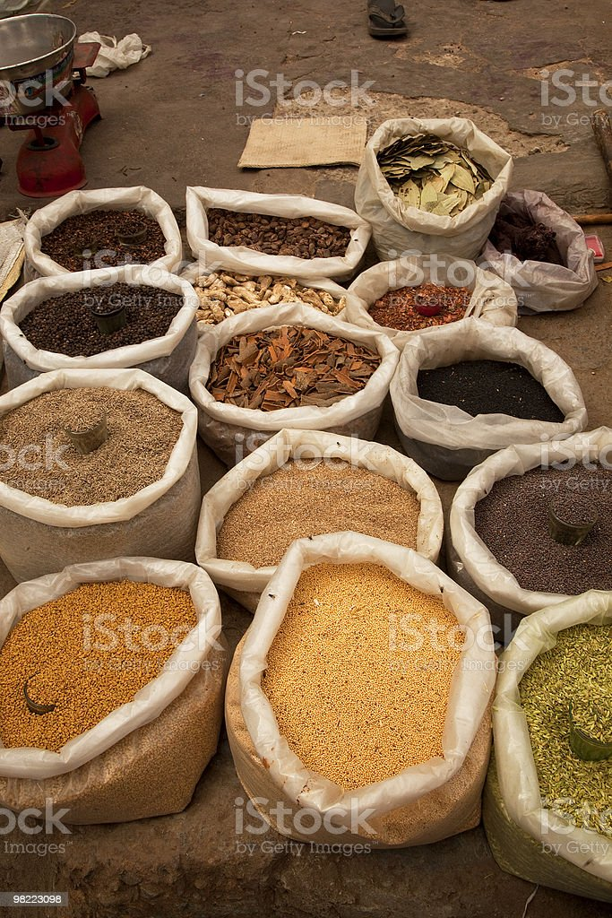 Open spice market on streets of Old Delhi, India royalty-free stock photo