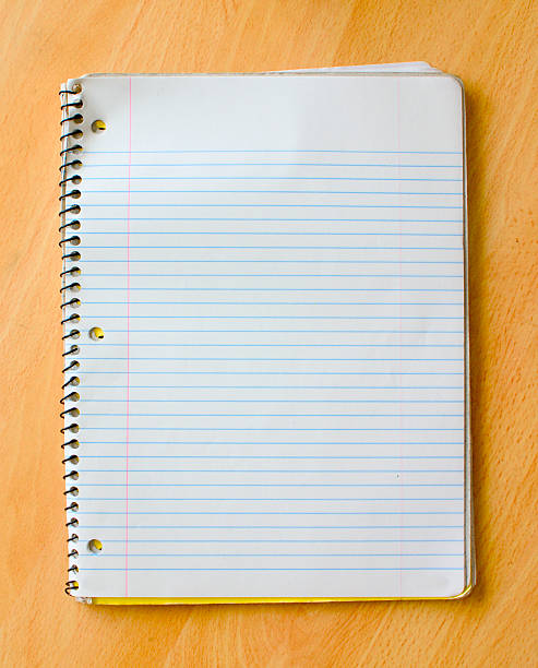 Open spiral bound notebook on desk stock photo