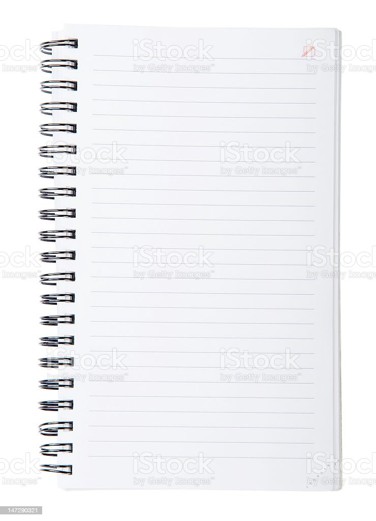 Open spiral lined notebook royalty-free stock photo