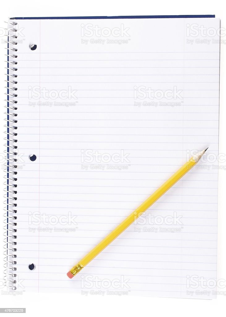 Open Spiral Notebook and Pencil royalty-free stock photo