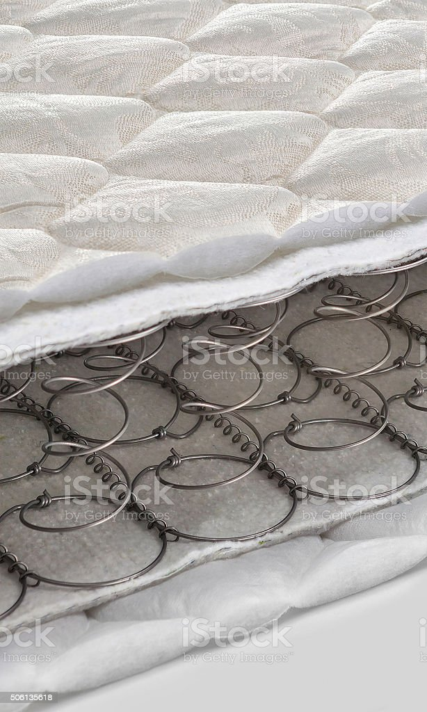Open spring and foam - latex bonnell mattress cross section stock photo