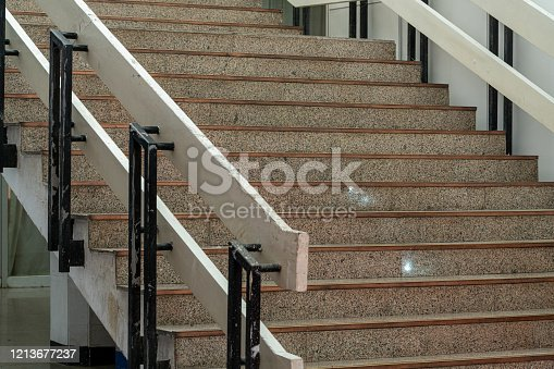 Open stairwell in a modern building。Stairs closeup