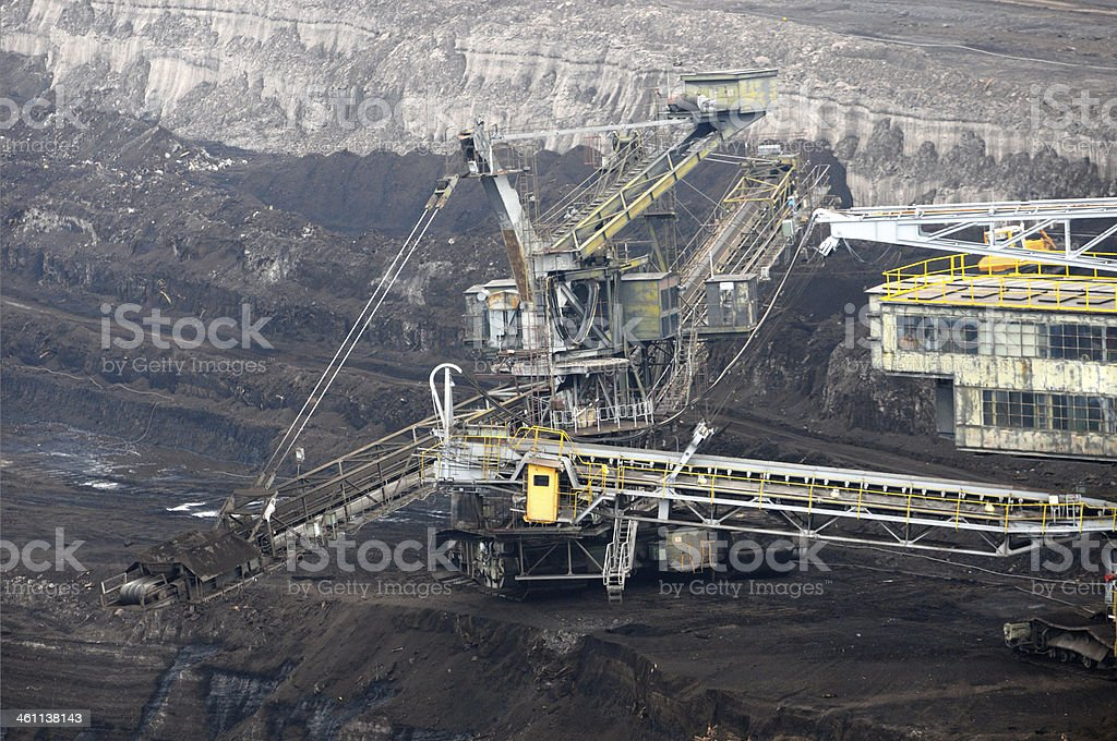 Open Strip Coal mine excavator at conveyor belt royalty-free stock photo