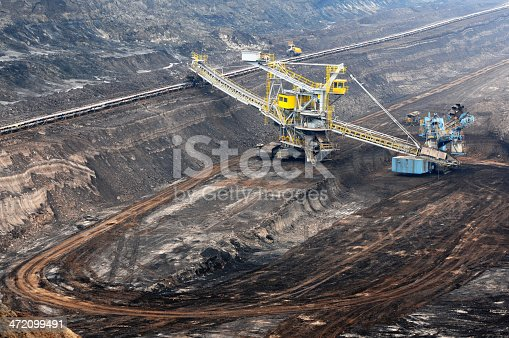 open Strip Coal mine with large wheel excavator at conveyor belt.