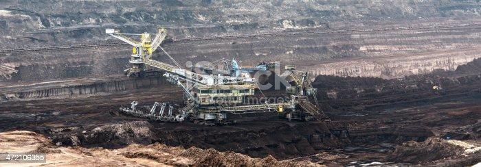 hdr panorama image (made of more than 6 images) of open Strip Coal mine with large Bucket-wheel excavator at conveyor belt. German. Eimerkettenbaggerhttp://www.afrost-fotografie.de/add/quarry.jpg